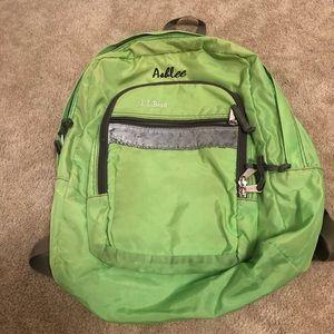 LL Bean monogrammed back pack